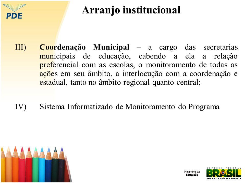 Arranjo institucional III) Coordenação Municipal – a cargo das secretarias municipais de educação, cabendo a ela a relação preferencial com as escolas, o monitoramento de todas as ações em seu âmbito, a interlocução com a coordenação e estadual, tanto no âmbito regional quanto central; IV)Sistema Informatizado de Monitoramento do Programa