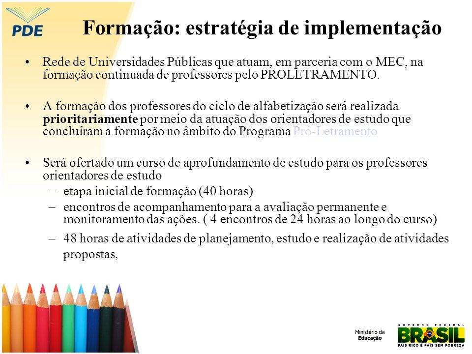 Formação: estratégia de implementação Rede de Universidades Públicas que atuam, em parceria com o MEC, na formação continuada de professores pelo PROLETRAMENTO.