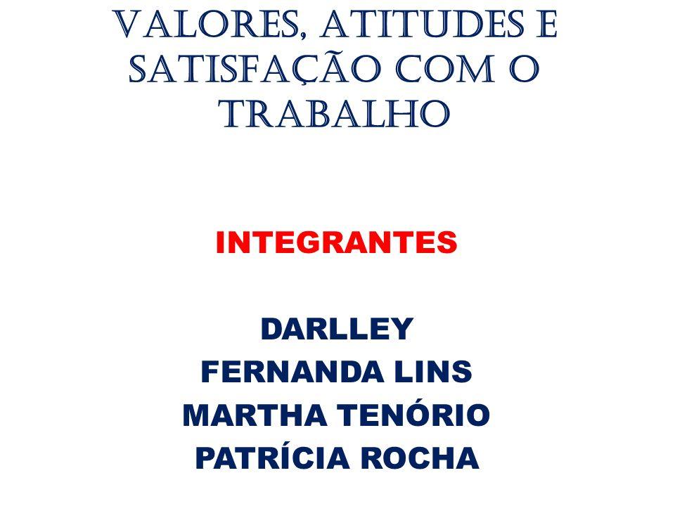 VALORES, ATITUDES E SATISFAÇÃO COM O TRABALHO INTEGRANTES DARLLEY FERNANDA LINS MARTHA TENÓRIO PATRÍCIA ROCHA