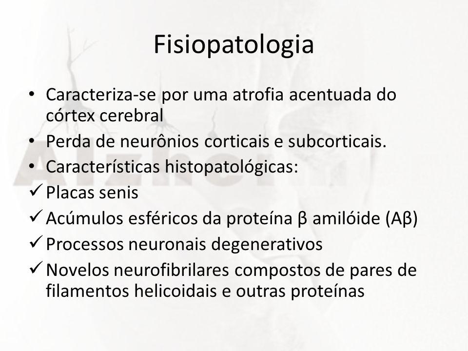 Fisiopatologia Caracteriza-se por uma atrofia acentuada do córtex cerebral Perda de neurônios corticais e subcorticais. Características histopatológic