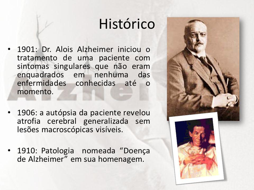 Histórico 1901: Dr. Alois Alzheimer iniciou o tratamento de uma paciente com sintomas singulares que não eram enquadrados em nenhuma das enfermidades