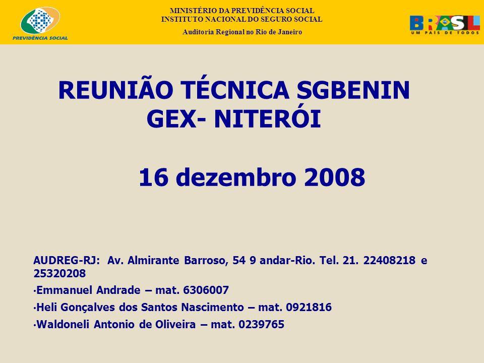 REUNIÃO TÉCNICA SGBENIN GEX- NITERÓI 16 dezembro 2008 AUDREG-RJ: Av. Almirante Barroso, 54 9 andar-Rio. Tel. 21. 22408218 e 25320208 Emmanuel Andrade