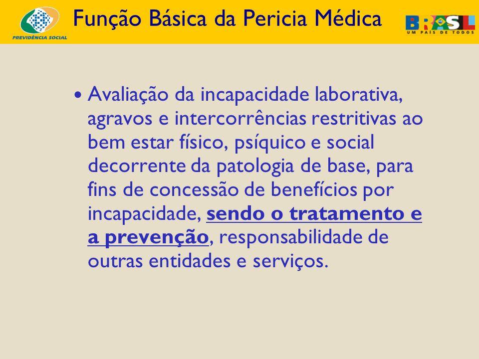 Função Básica da Pericia Médica Avaliação da incapacidade laborativa, agravos e intercorrências restritivas ao bem estar físico, psíquico e social dec
