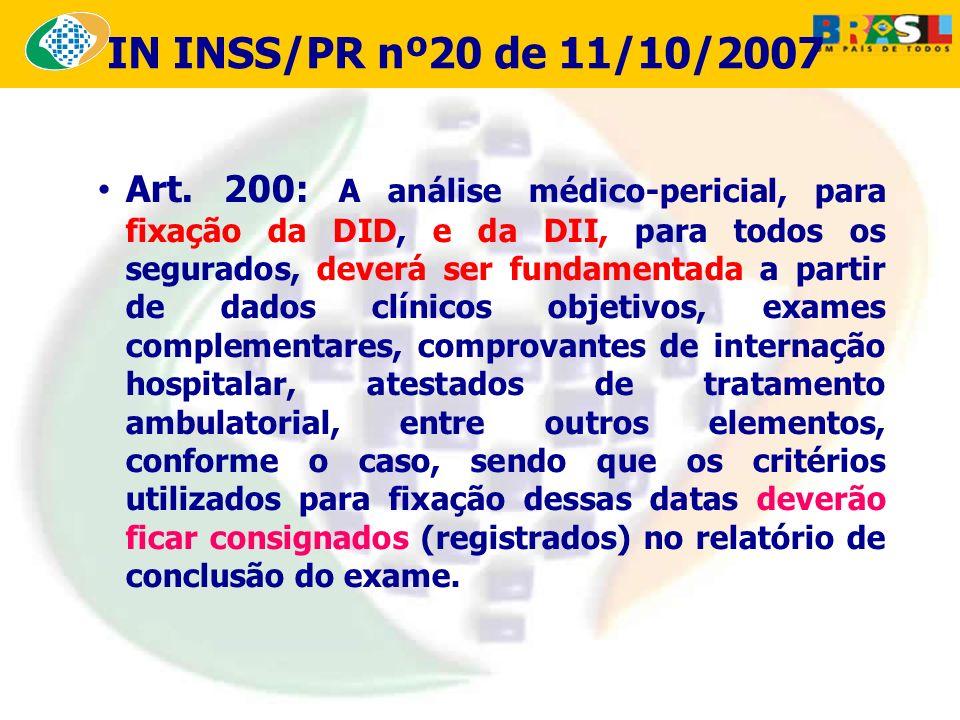 Art. 200: A análise médico-pericial, para fixação da DID, e da DII, para todos os segurados, deverá ser fundamentada a partir de dados clínicos objeti