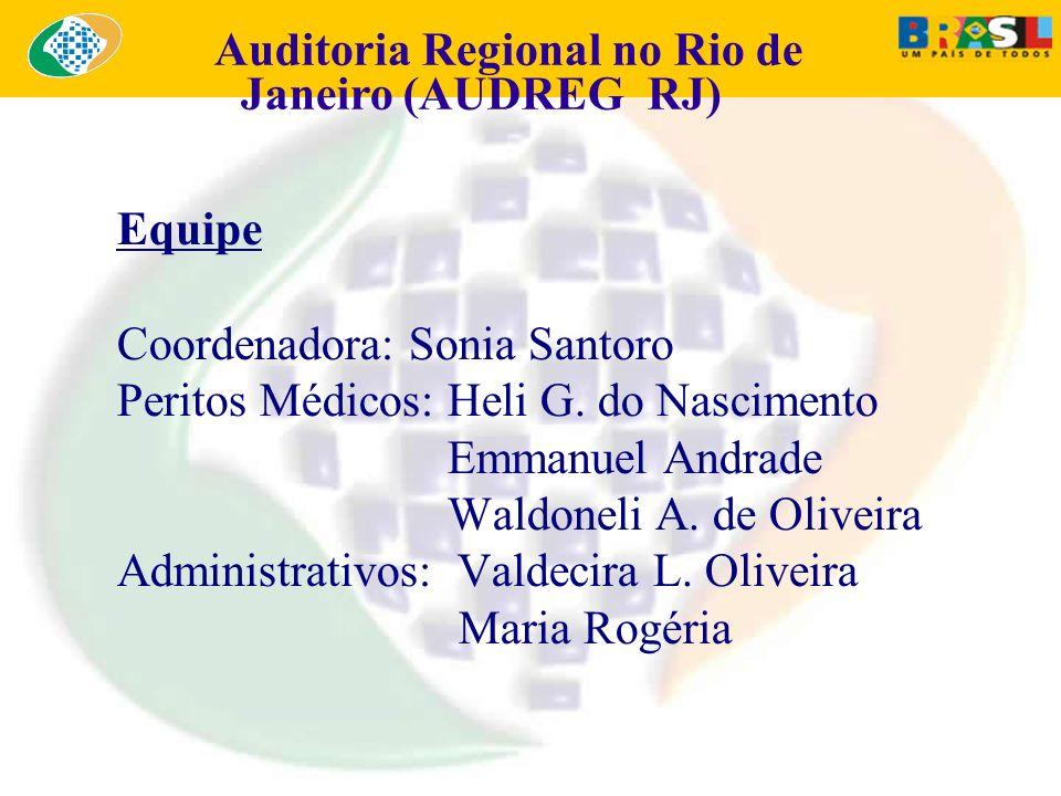 Equipe Coordenadora: Sonia Santoro Peritos Médicos: Heli G. do Nascimento Emmanuel Andrade Waldoneli A. de Oliveira Administrativos: Valdecira L. Oliv