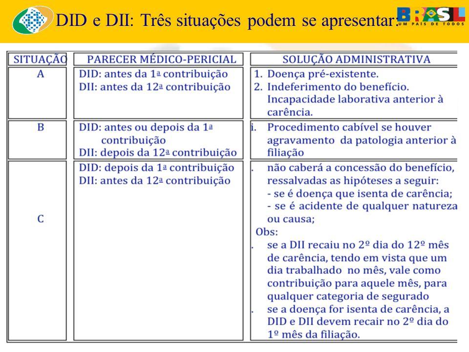 DID e DII: Três situações podem se apresentar: