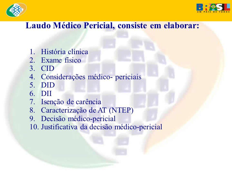 1.História clínica 2.Exame físico 3.CID 4.Considerações médico- periciais 5.DID 6.DII 7.Isenção de carência 8.Caracterização de AT (NTEP) 9.Decisão mé