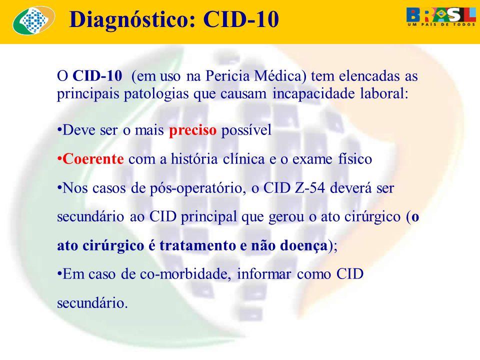 O CID-10 (em uso na Pericia Médica) tem elencadas as principais patologias que causam incapacidade laboral: Deve ser o mais preciso possível Coerente