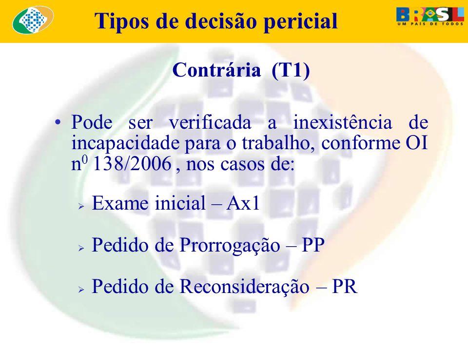 Tipos de decisão pericial Contrária (T1) Pode ser verificada a inexistência de incapacidade para o trabalho, conforme OI n 0 138/2006, nos casos de: E