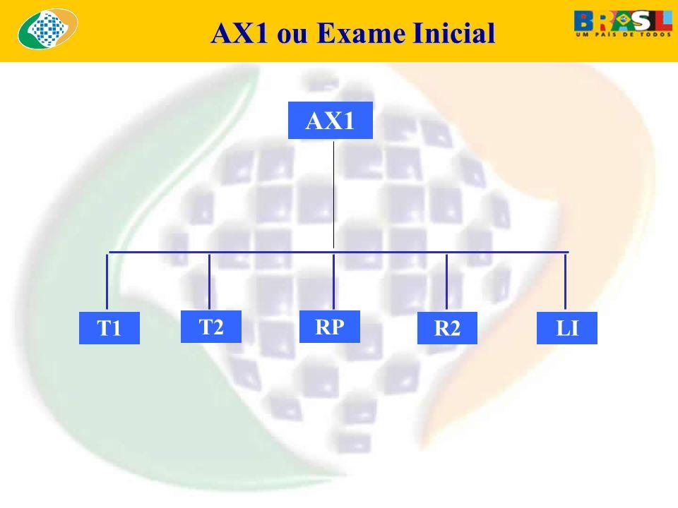 AX1 ou Exame Inicial AX1 ou Exame Inicial AX1 T1 T2RP R2LI