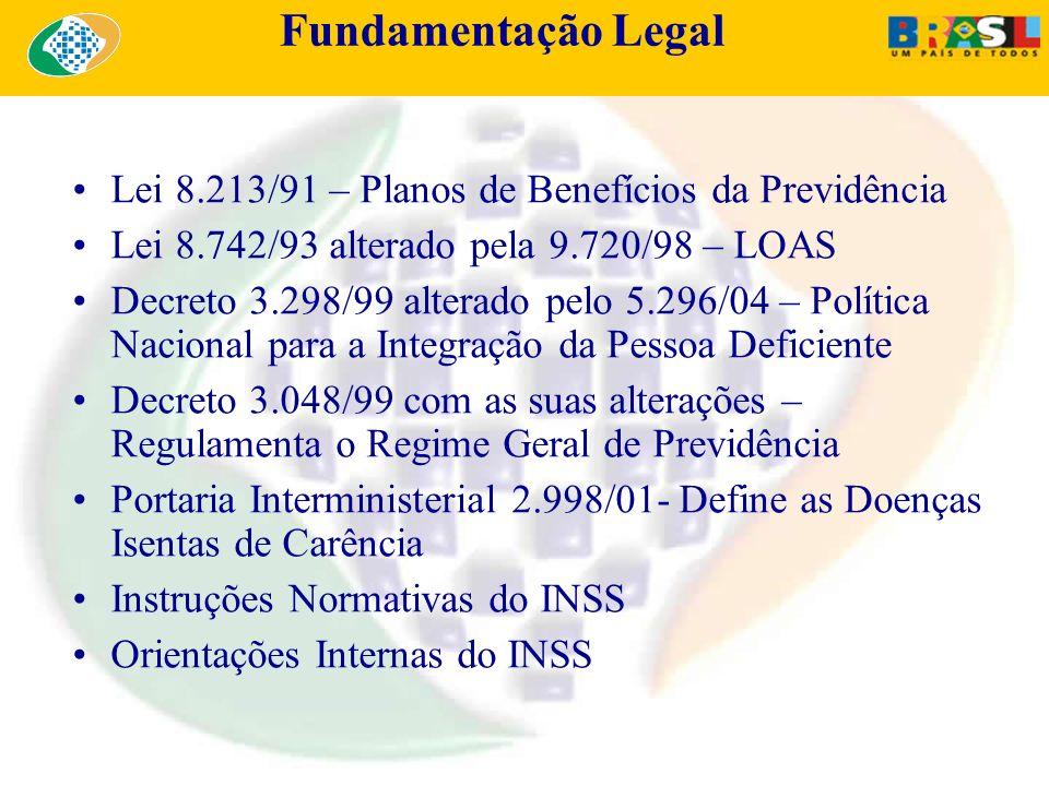 Fundamentação Legal Lei 8.213/91 – Planos de Benefícios da Previdência Lei 8.742/93 alterado pela 9.720/98 – LOAS Decreto 3.298/99 alterado pelo 5.296