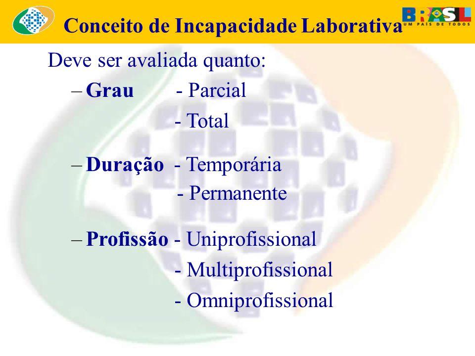 Conceito de Incapacidade Laborativa Deve ser avaliada quanto: –Grau - Parcial - Total –Duração - Temporária - Permanente –Profissão - Uniprofissional