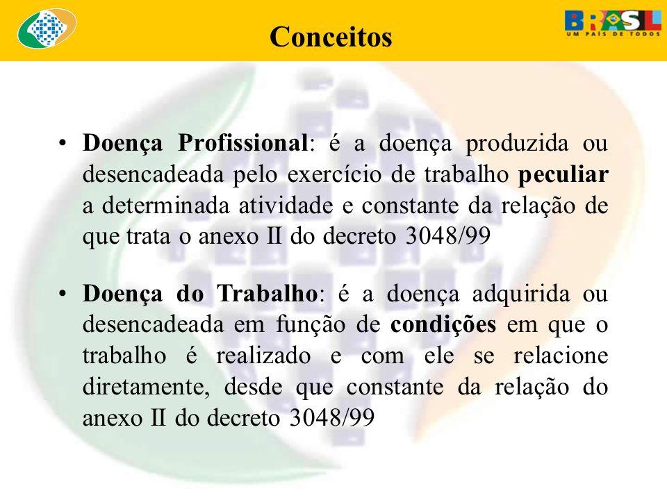 Conceitos Doença Profissional: é a doença produzida ou desencadeada pelo exercício de trabalho peculiar a determinada atividade e constante da relação