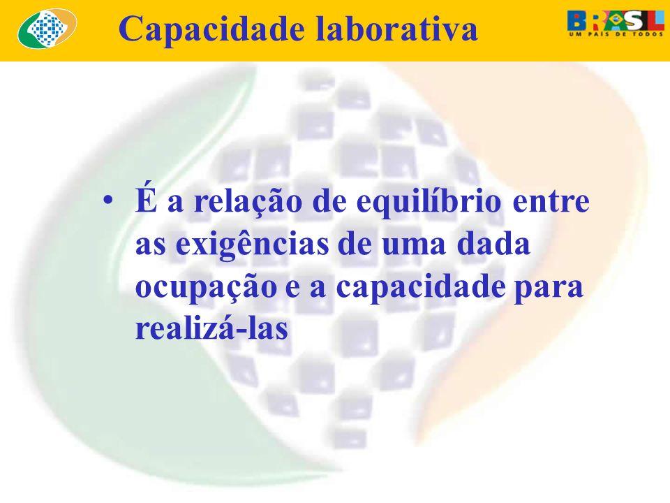 É a relação de equilíbrio entre as exigências de uma dada ocupação e a capacidade para realizá-las Capacidade laborativa
