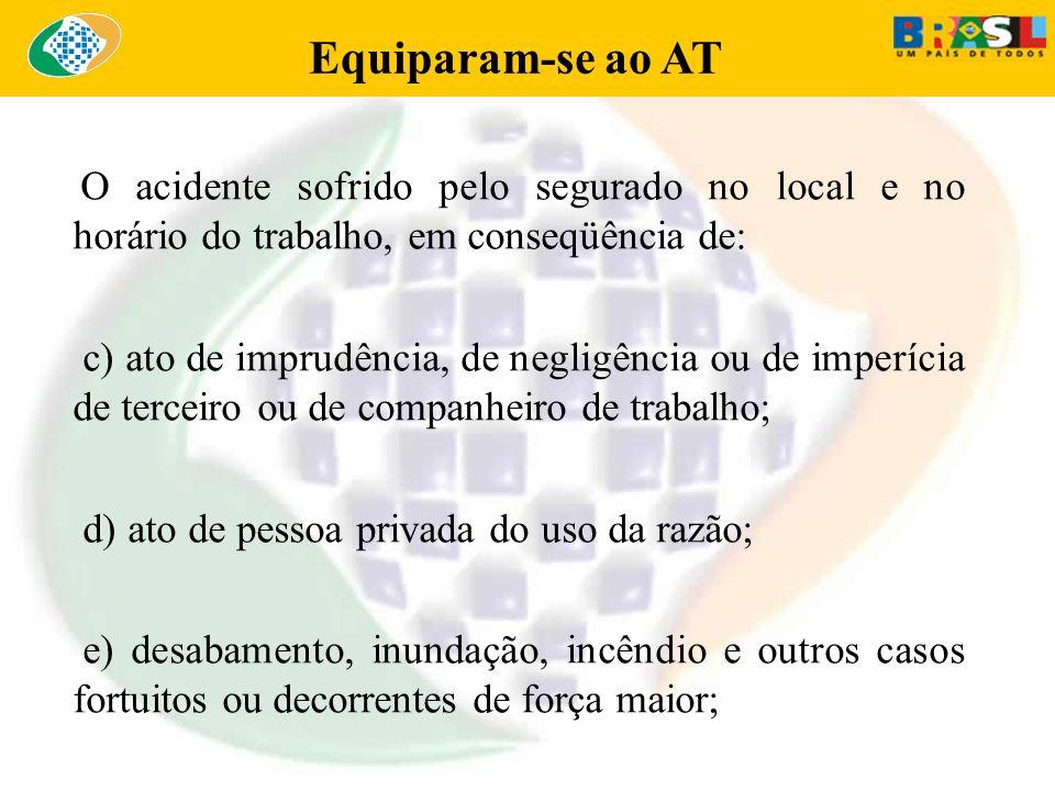 Equiparam-se ao AT O acidente sofrido pelo segurado no local e no horário do trabalho, em conseqüência de: c) ato de imprudência, de negligência ou de