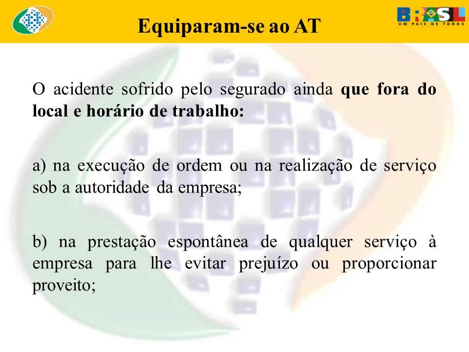 Equiparam-se ao AT O acidente sofrido pelo segurado ainda que fora do local e horário de trabalho: a) na execução de ordem ou na realização de serviço
