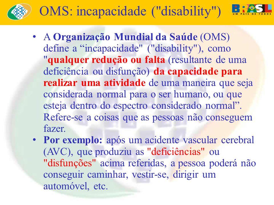 A Organização Mundial da Saúde (OMS) define a incapacidade