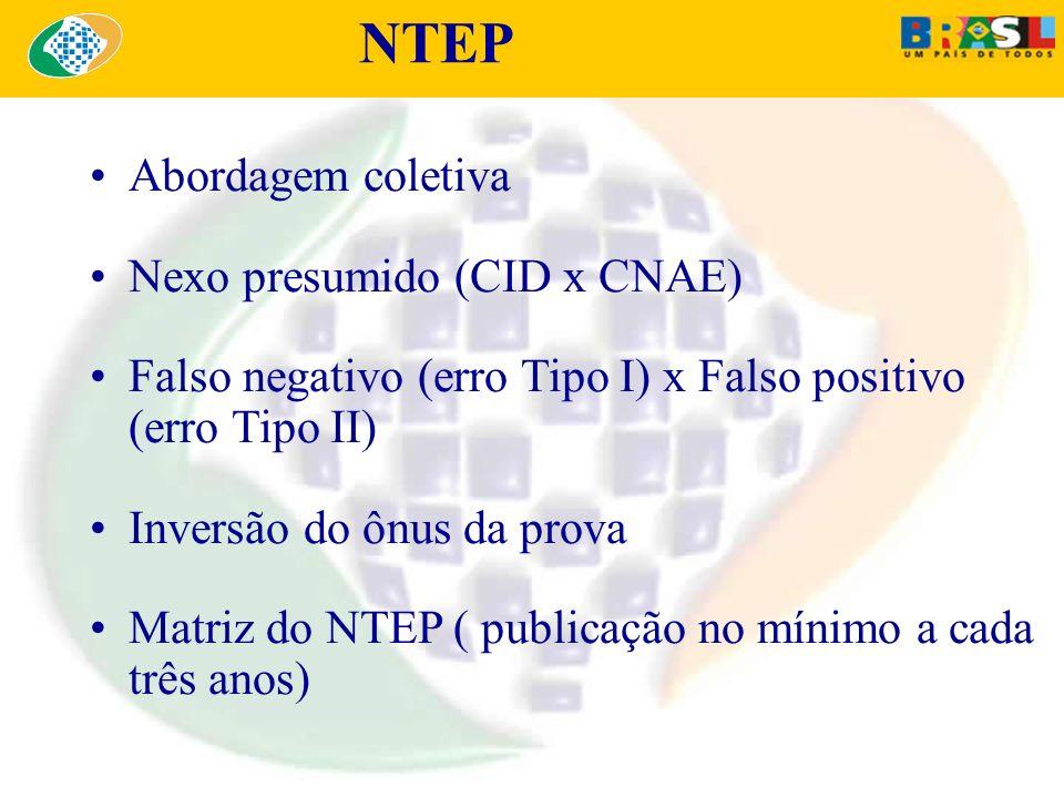 NTEP Abordagem coletiva Nexo presumido (CID x CNAE) Falso negativo (erro Tipo I) x Falso positivo (erro Tipo II) Inversão do ônus da prova Matriz do N