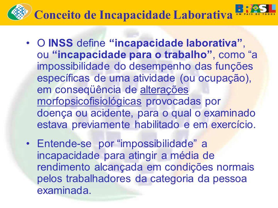 O INSS define incapacidade laborativa, ou incapacidade para o trabalho, como a impossibilidade do desempenho das funções específicas de uma atividade