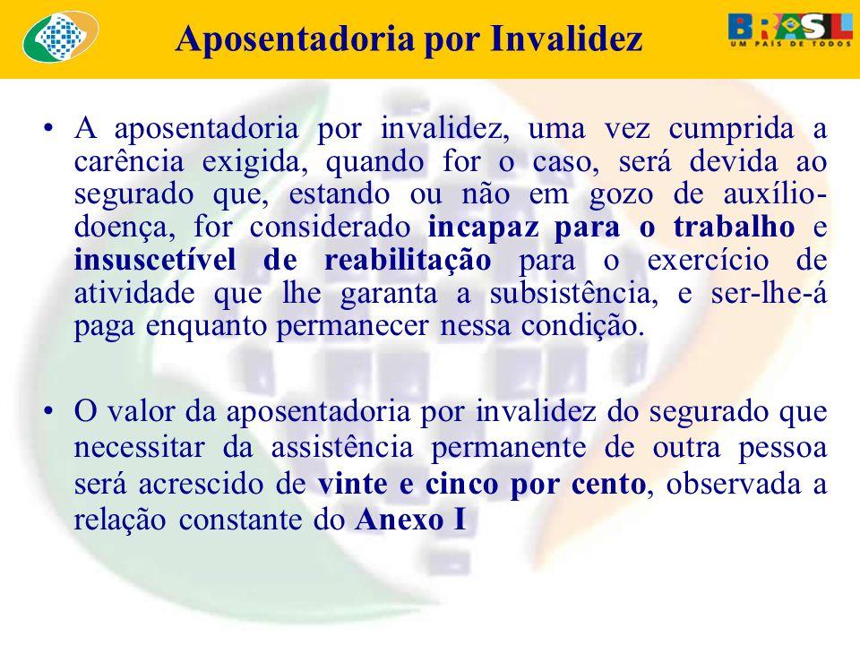 Aposentadoria por Invalidez A aposentadoria por invalidez, uma vez cumprida a carência exigida, quando for o caso, será devida ao segurado que, estand