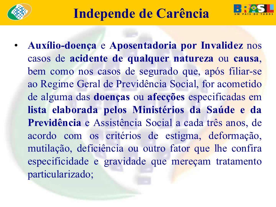 Independe de Carência Auxílio-doença e Aposentadoria por Invalidez nos casos de acidente de qualquer natureza ou causa, bem como nos casos de segurado