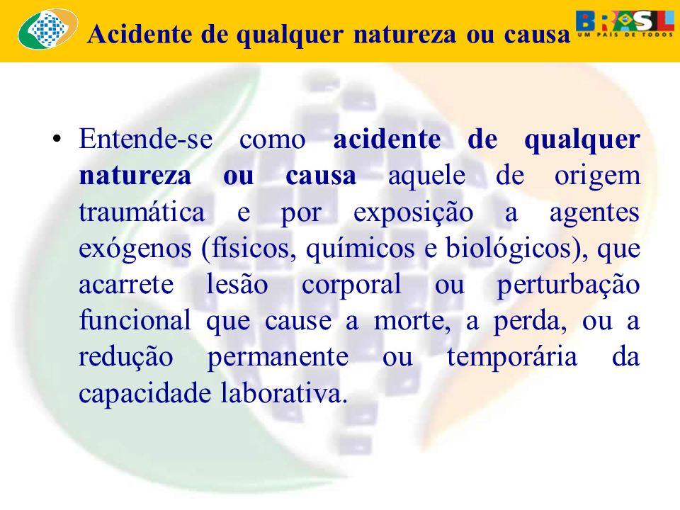 Acidente de qualquer natureza ou causa Entende-se como acidente de qualquer natureza ou causa aquele de origem traumática e por exposição a agentes ex