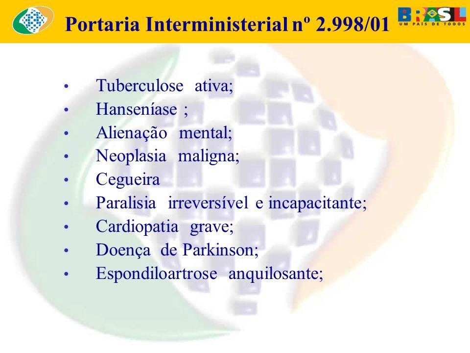 Portaria Interministerial nº 2.998/01 Tuberculose ativa; Hanseníase ; Alienação mental; Neoplasia maligna; Cegueira Paralisia irreversível e incapacit