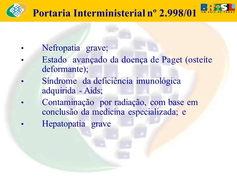 Portaria Interministerial nº 2.998/01 Nefropatia grave; Estado avançado da doença de Paget (osteíte deformante); Síndrome da deficiência imunológica a