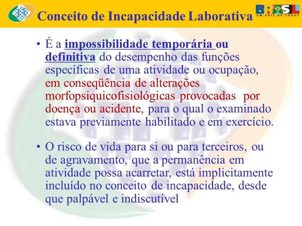 É a impossibilidade temporária ou definitiva do desempenho das funções específicas de uma atividade ou ocupação, em conseqüência de alterações morfops
