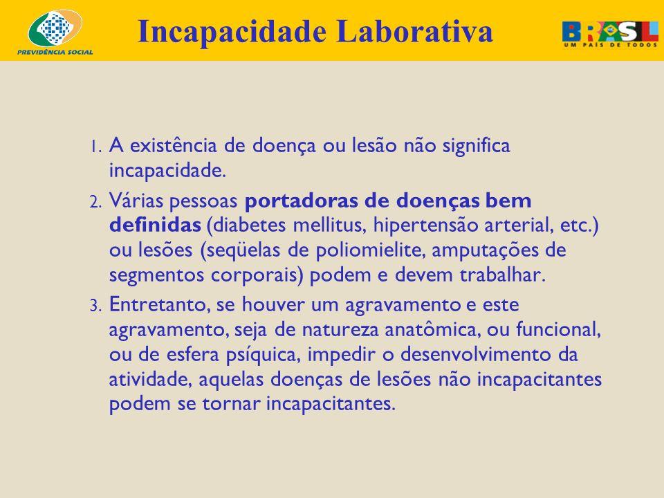 1. A existência de doença ou lesão não significa incapacidade. 2. Várias pessoas portadoras de doenças bem definidas (diabetes mellitus, hipertensão a