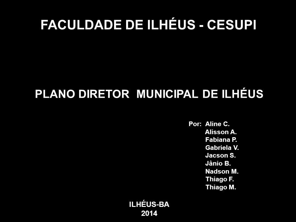 FACULDADE DE ILHÉUS - CESUPI PLANO DIRETOR MUNICIPAL DE ILHÉUS Por: Aline C. Alisson A. Fabiana P. Gabriela V. Jacson S. Jânio B. Nadson M. Thiago F.