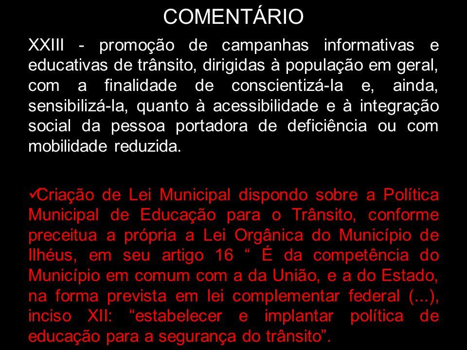 COMENTÁRIO XXIII - promoção de campanhas informativas e educativas de trânsito, dirigidas à população em geral, com a finalidade de conscientizá-la e,