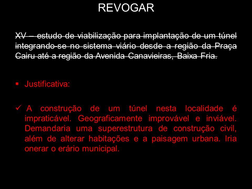 REVOGAR XV – estudo de viabilização para implantação de um túnel integrando-se no sistema viário desde a região da Praça Cairu até a região da Avenida
