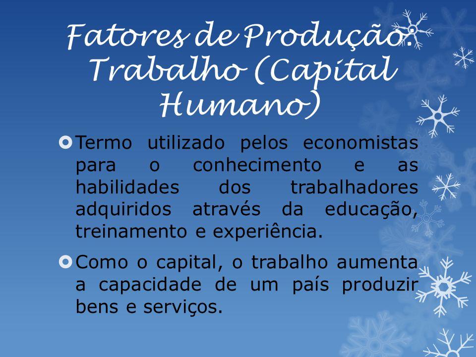 Fatores de Produção: Trabalho (Capital Humano) Termo utilizado pelos economistas para o conhecimento e as habilidades dos trabalhadores adquiridos através da educação, treinamento e experiência.