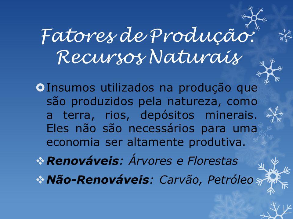 Fatores de Produção: Recursos Naturais Insumos utilizados na produção que são produzidos pela natureza, como a terra, rios, depósitos minerais.