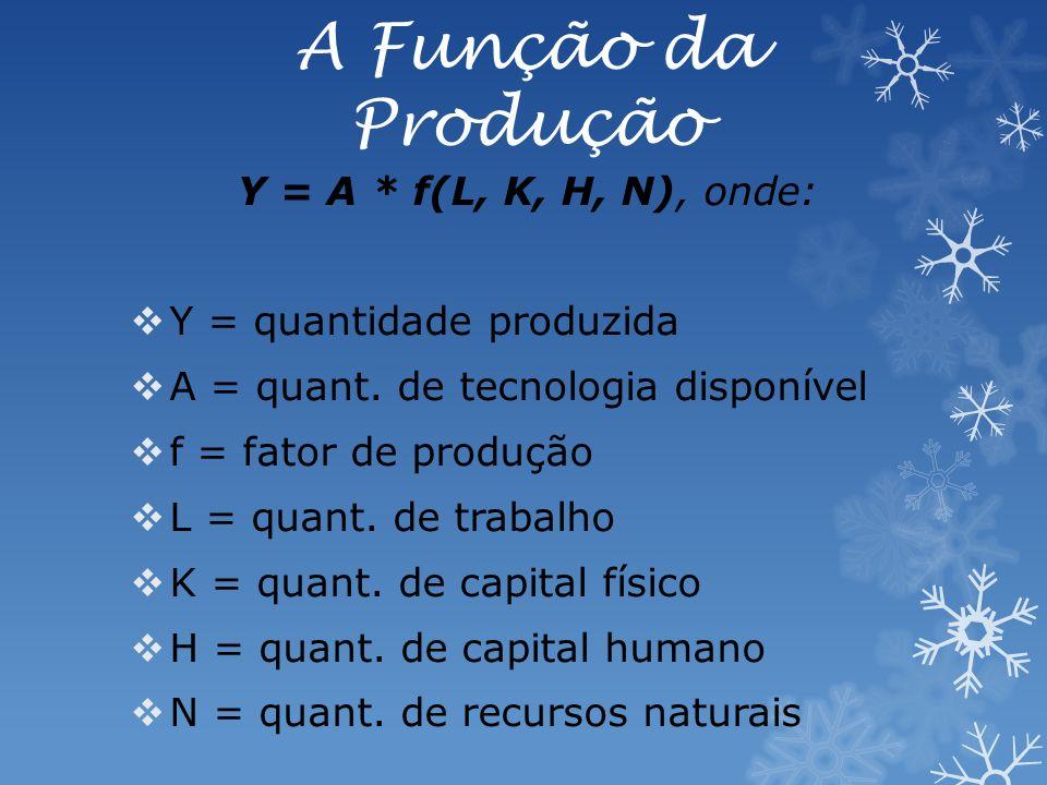 A Função da Produção Y = A * f(L, K, H, N), onde: Y = quantidade produzida A = quant.