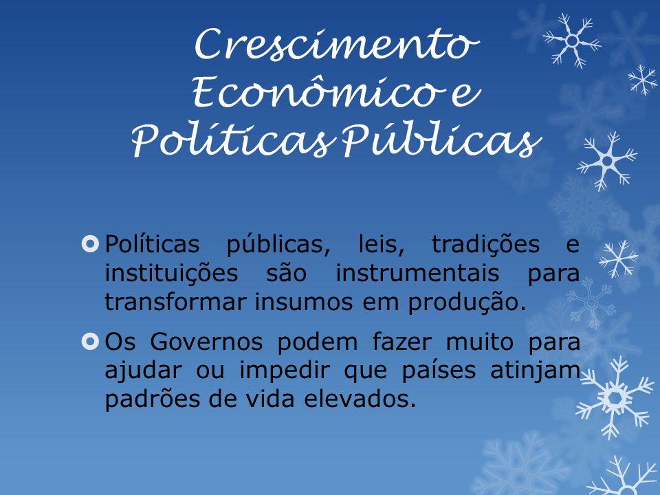 Crescimento Econômico e Políticas Públicas Políticas públicas, leis, tradições e instituições são instrumentais para transformar insumos em produção.