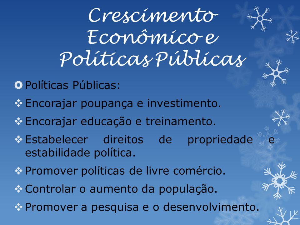 Crescimento Econômico e Políticas Públicas Políticas Públicas: Encorajar poupança e investimento.