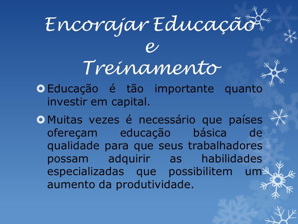 Encorajar Educação e Treinamento Educação é tão importante quanto investir em capital.