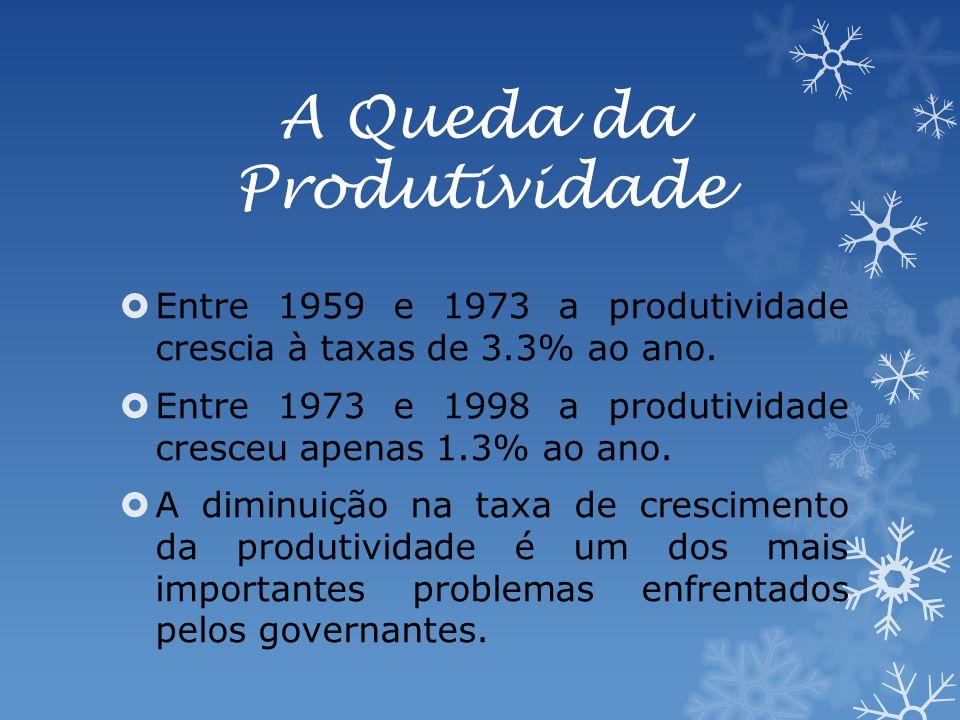 A Queda da Produtividade Entre 1959 e 1973 a produtividade crescia à taxas de 3.3% ao ano.