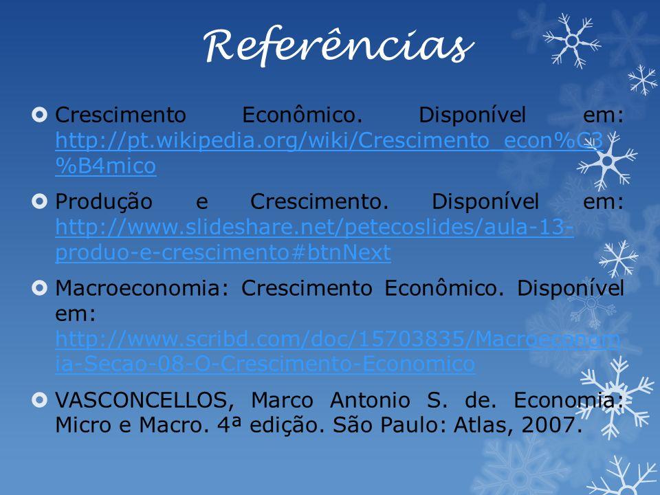 Referências Crescimento Econômico.