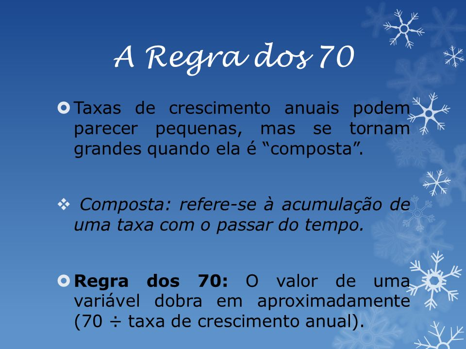 A Regra dos 70 Taxas de crescimento anuais podem parecer pequenas, mas se tornam grandes quando ela é composta.