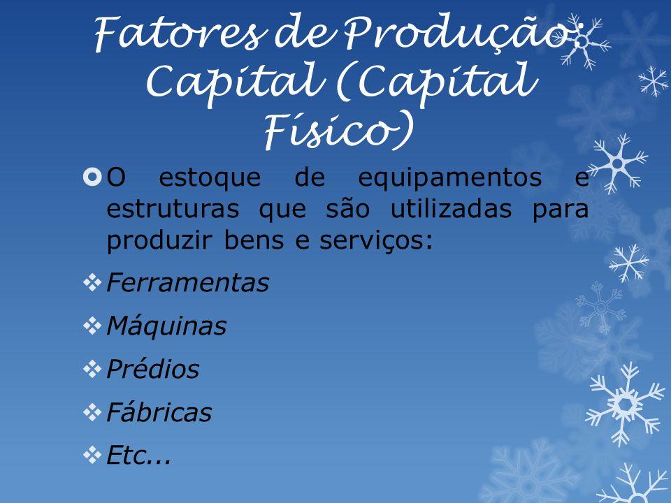 Fatores de Produção: Capital (Capital Físico) O estoque de equipamentos e estruturas que são utilizadas para produzir bens e serviços: Ferramentas Máquinas Prédios Fábricas Etc...