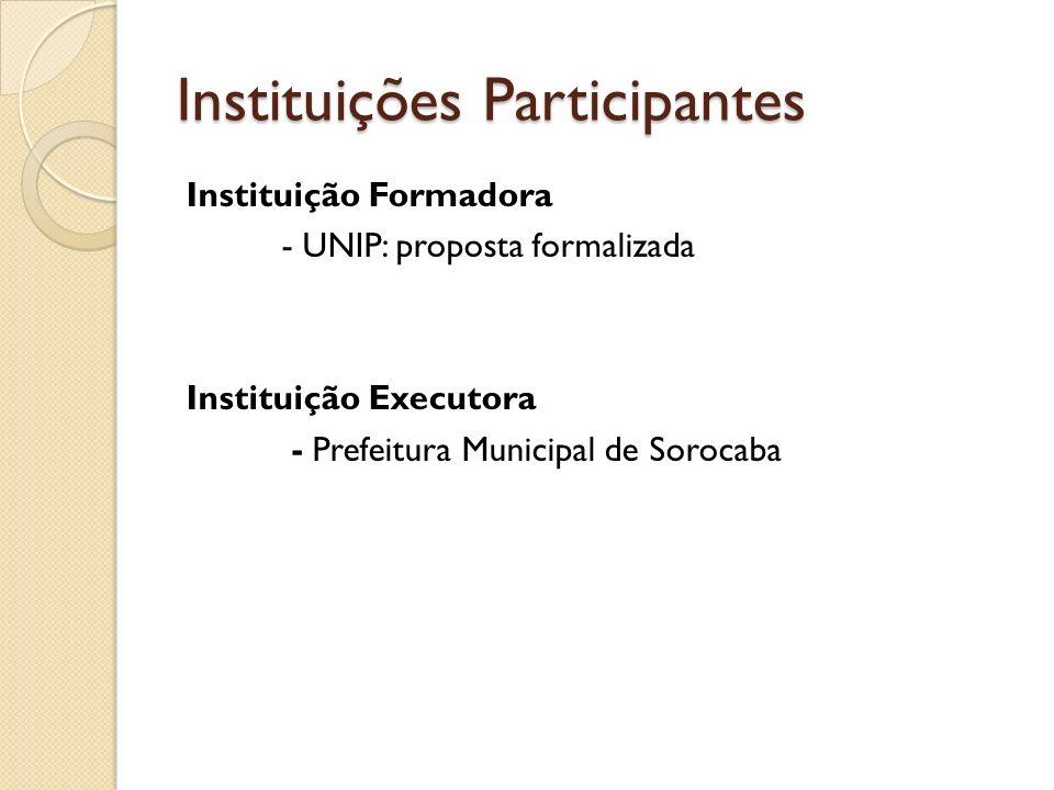Instituições Participantes Instituição Formadora - UNIP: proposta formalizada Instituição Executora - Prefeitura Municipal de Sorocaba