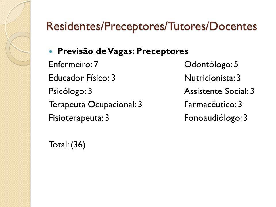 Residentes/Preceptores/Tutores/Docentes Previsão de Vagas: Preceptores Enfermeiro: 7 Odontólogo: 5 Educador Físico: 3 Nutricionista: 3 Psicólogo: 3 As