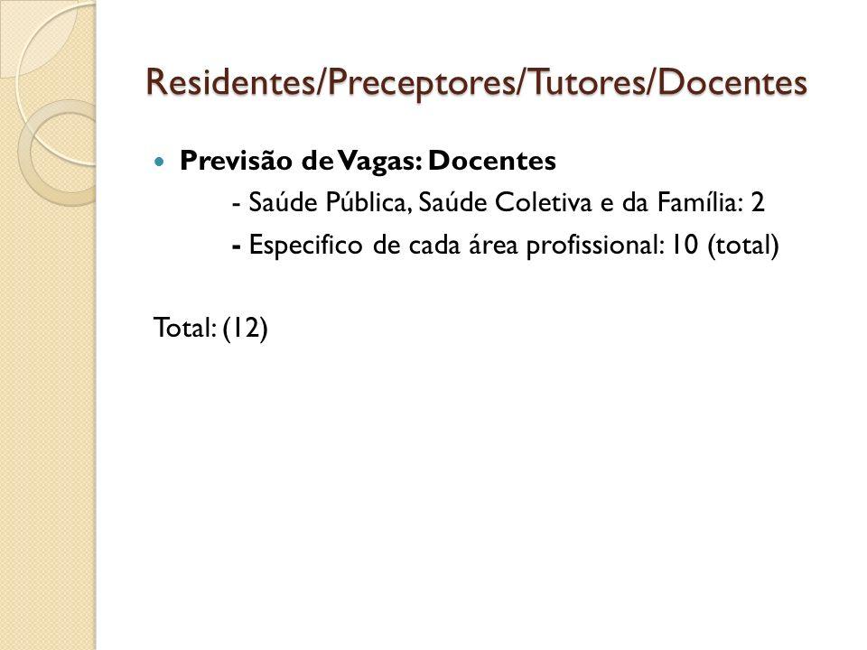 Residentes/Preceptores/Tutores/Docentes Previsão de Vagas: Docentes - Saúde Pública, Saúde Coletiva e da Família: 2 - Especifico de cada área profissi