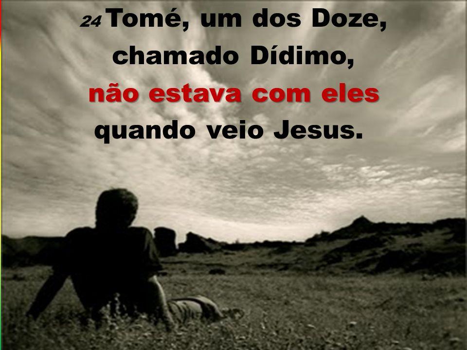 24 Tomé, um dos Doze, chamado Dídimo, não estava com eles quando veio Jesus.