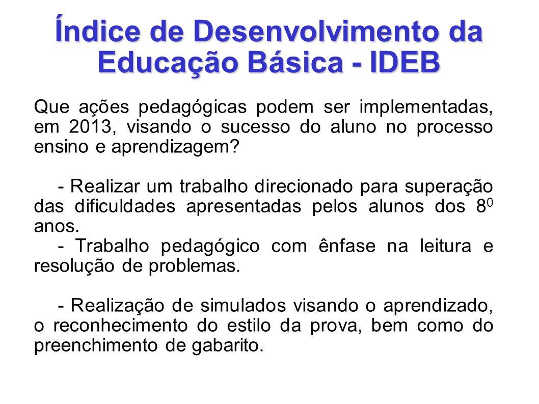 Índice de Desenvolvimento da Educação Básica - IDEB Que ações pedagógicas podem ser implementadas, em 2013, visando o sucesso do aluno no processo ens