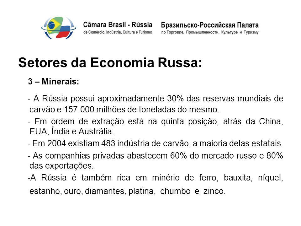 Setores da Economia Russa: 3 – Minerais: - A Rússia possui aproximadamente 30% das reservas mundiais de carvão e 157.000 milhões de toneladas do mesmo