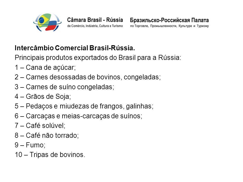 Intercâmbio Comercial Brasil-Rússia. Principais produtos exportados do Brasil para a Rússia: 1 – Cana de açúcar; 2 – Carnes desossadas de bovinos, con